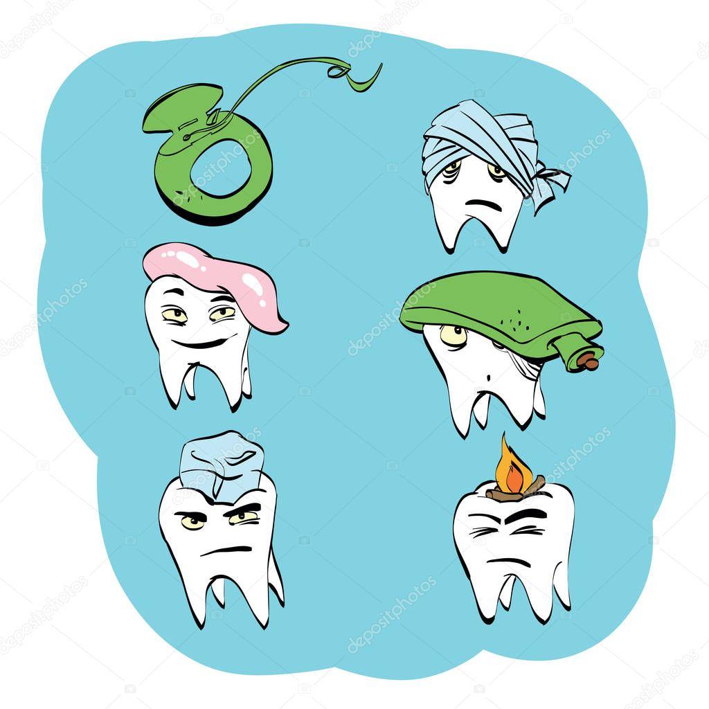 3ea99fda4 Conjunto dental do dente saúde e higiene bucal — Vetores de Stock ...