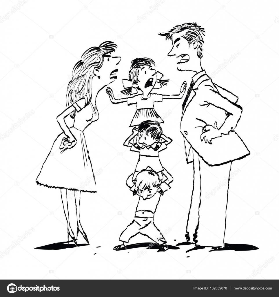 Dibujos Familia Peleando Discutir En La Familia Mamá Y