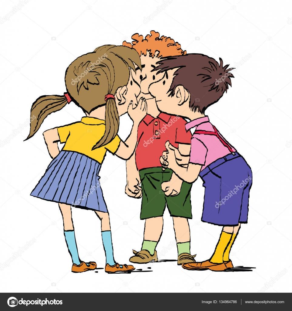 Myst re un groupe d enfants chuchoter image vectorielle 134964786 - Dessin groupe d enfants ...