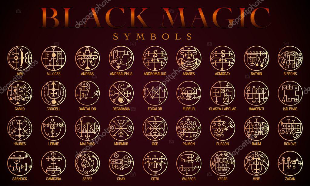 Set Of Black Magic Symbols Black Magic Or Dark Magic Has