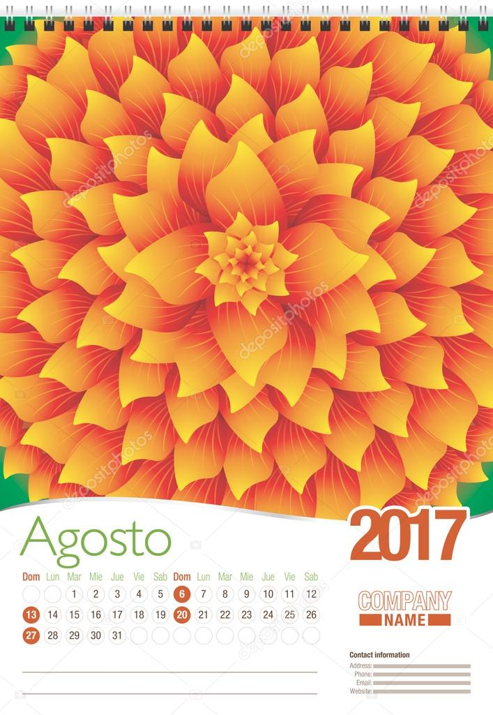 Agosto -August in Spanish language- wall calendar 2017 template with abstract floral design, ready for printing. Size: 297mm x 420mm. Format vertical. Spanish version