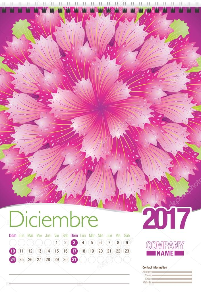 Diciembre -December in Spanish language- wall calendar 2017 template with abstract floral design, ready for printing. Size: 297mm x 420mm. Format vertical. Spanish version