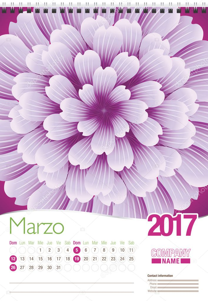 Marzo -March in Spanish language- wall calendar 2017 template with abstract floral design, ready for printing. Size: 297mm x 420mm. Format vertical. Spanish version