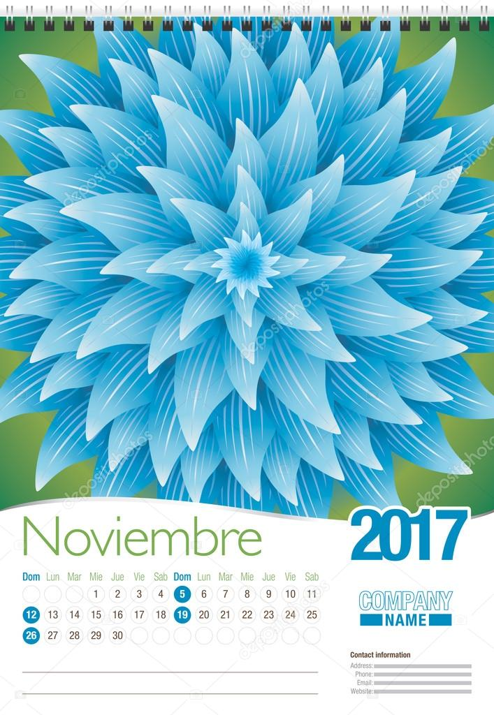 Noviembre -November in Spanish language- wall calendar 2017 template with abstract floral design, ready for printing. Size: 297mm x 420mm. Format vertical. Spanish version