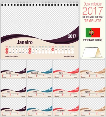 Desk triangle calendar 2017 template. Size: 210mm x 150mm. Format A5.  Vector image. Portuguese version
