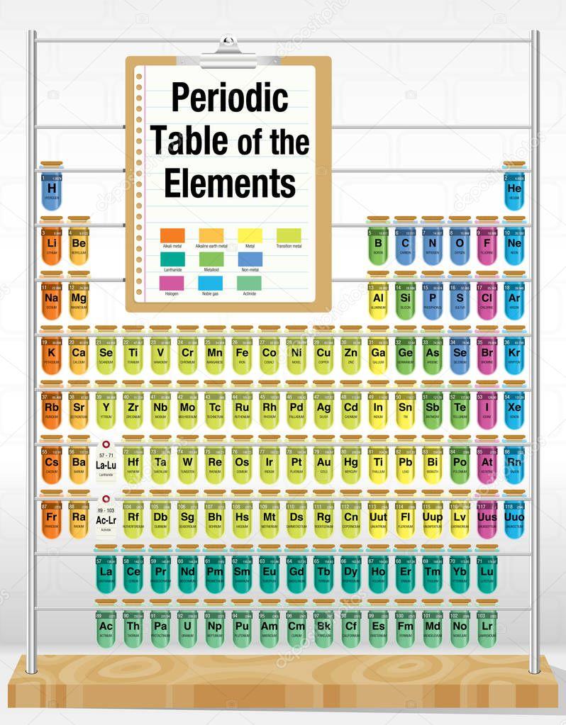 Tabla periodica de los elementos consisten en tubos de ensayo con tabla periodica de los elementos consisten en tubos de ensayo con los nombres y nmero de cada elemento qumica vector de alejomiranda urtaz Choice Image