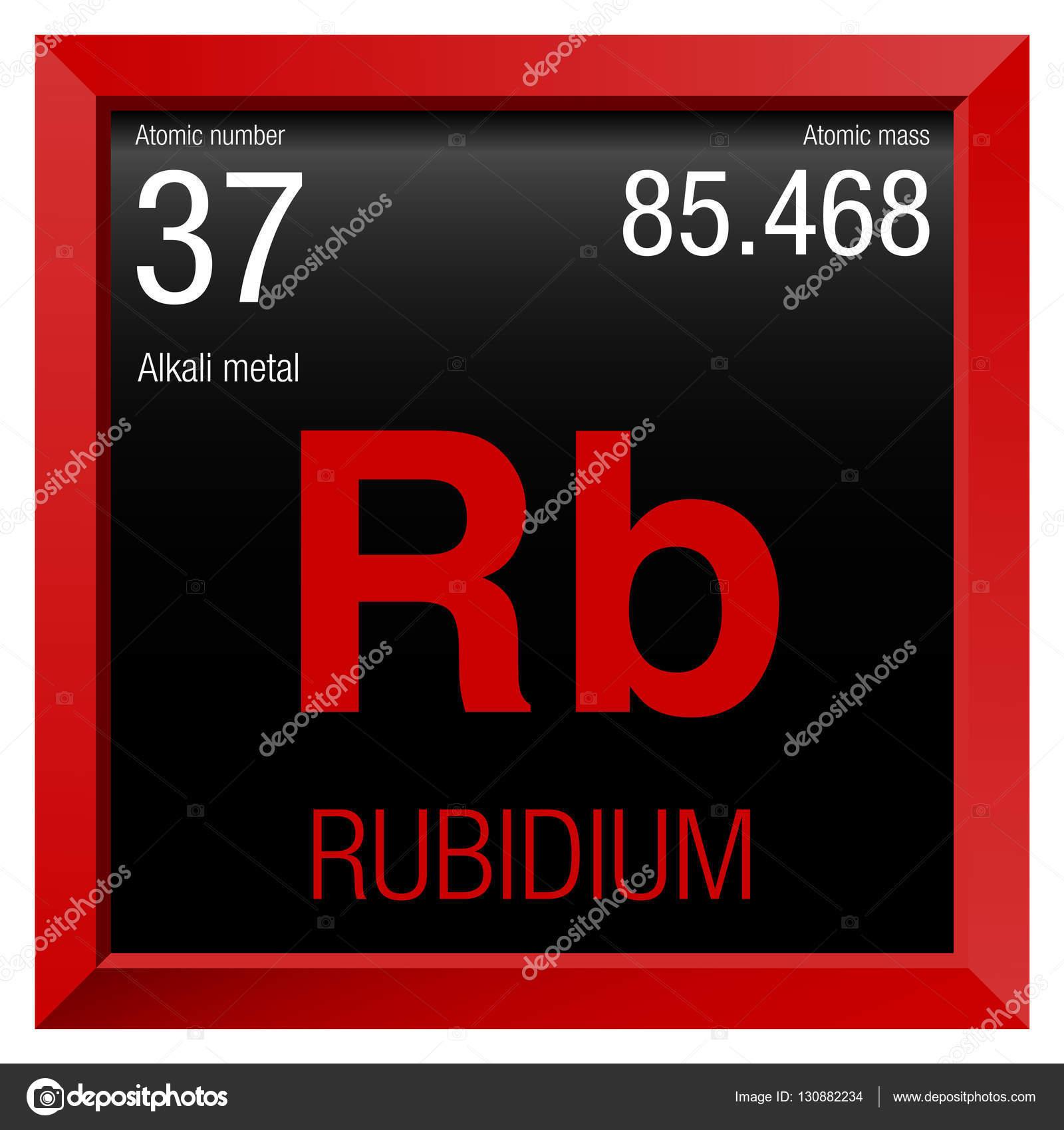 Smbolo del rubidio elemento nmero 37 de la tabla peridica de lo elemento nmero 37 de la tabla peridica de lo elementos qumica red square marco con fondo negro vector de alejomiranda urtaz Choice Image