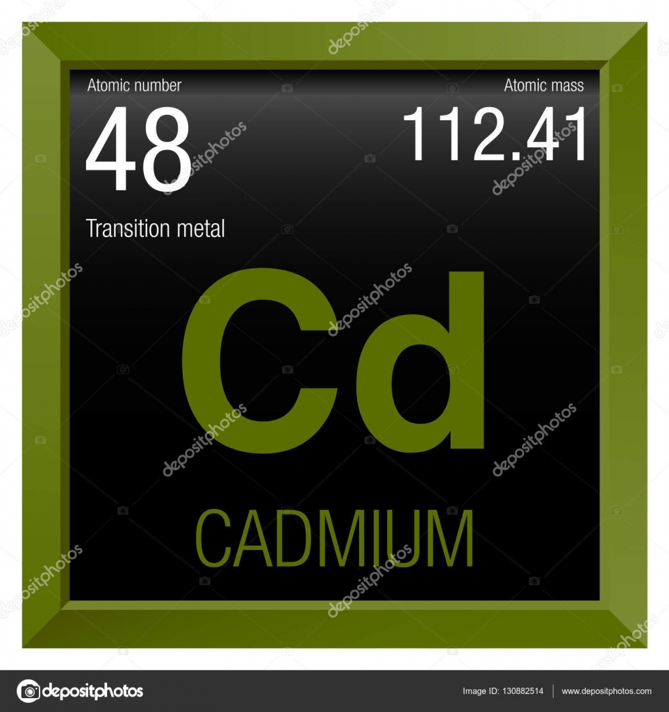 Cadmium symbol. Element number 48 of the Periodic Table of the ...