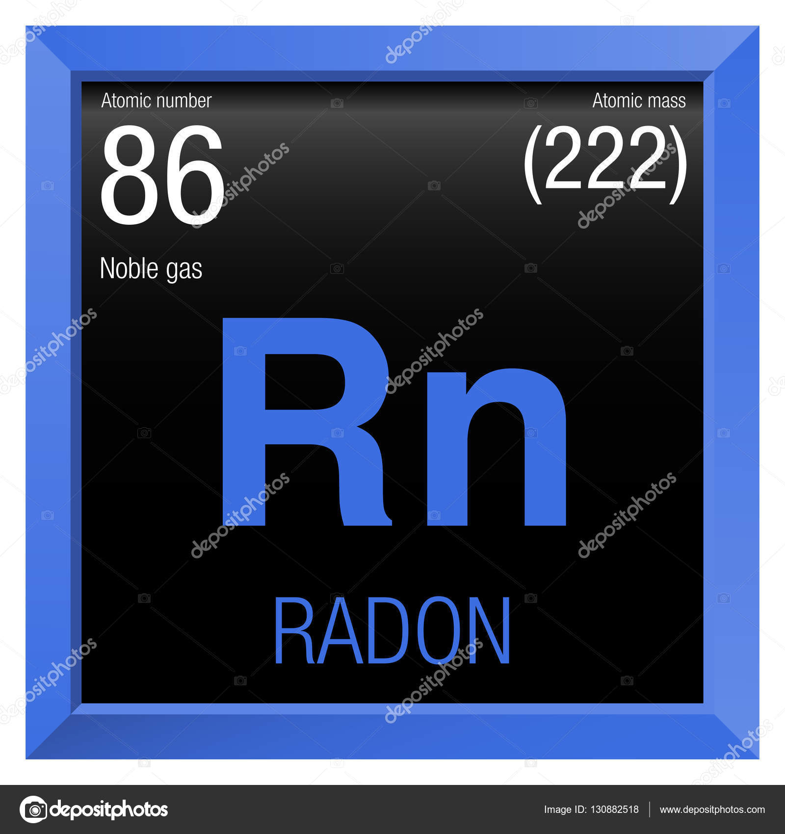 Radon Symbol Element Number 86 Of The Periodic Table Of The