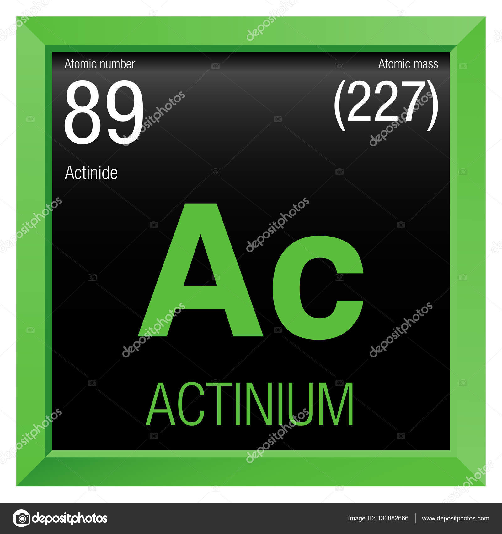 Actinium Symbol Element Number 89 Of The Periodic Table Of The