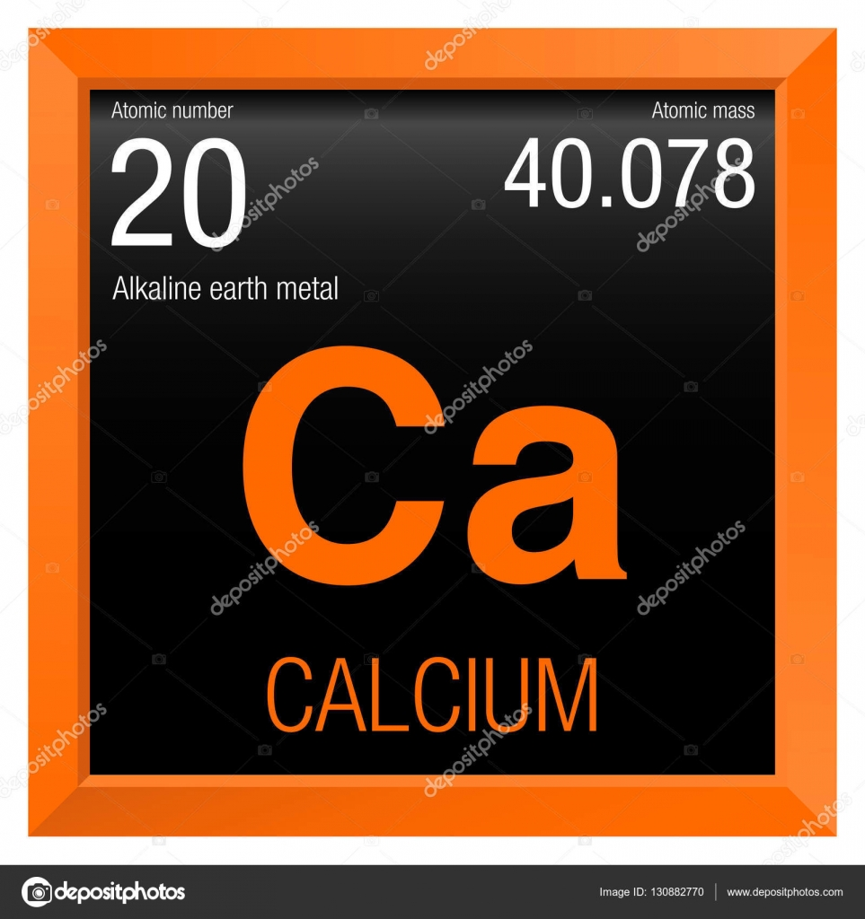Stock Illustration Calcium Symbol Element Number 20 on Periodic Table In Chemistry