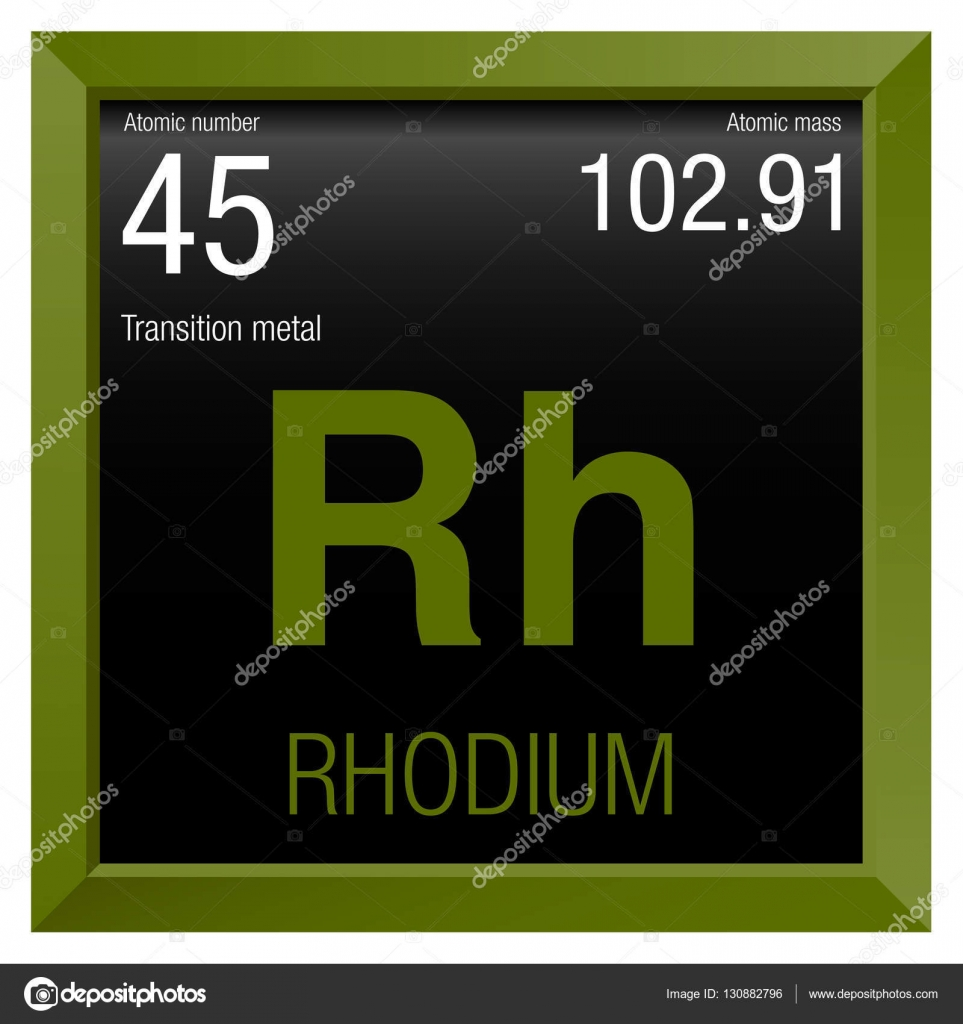 Rhodium Symbol Element Number 45 Of The Periodic Table Of The
