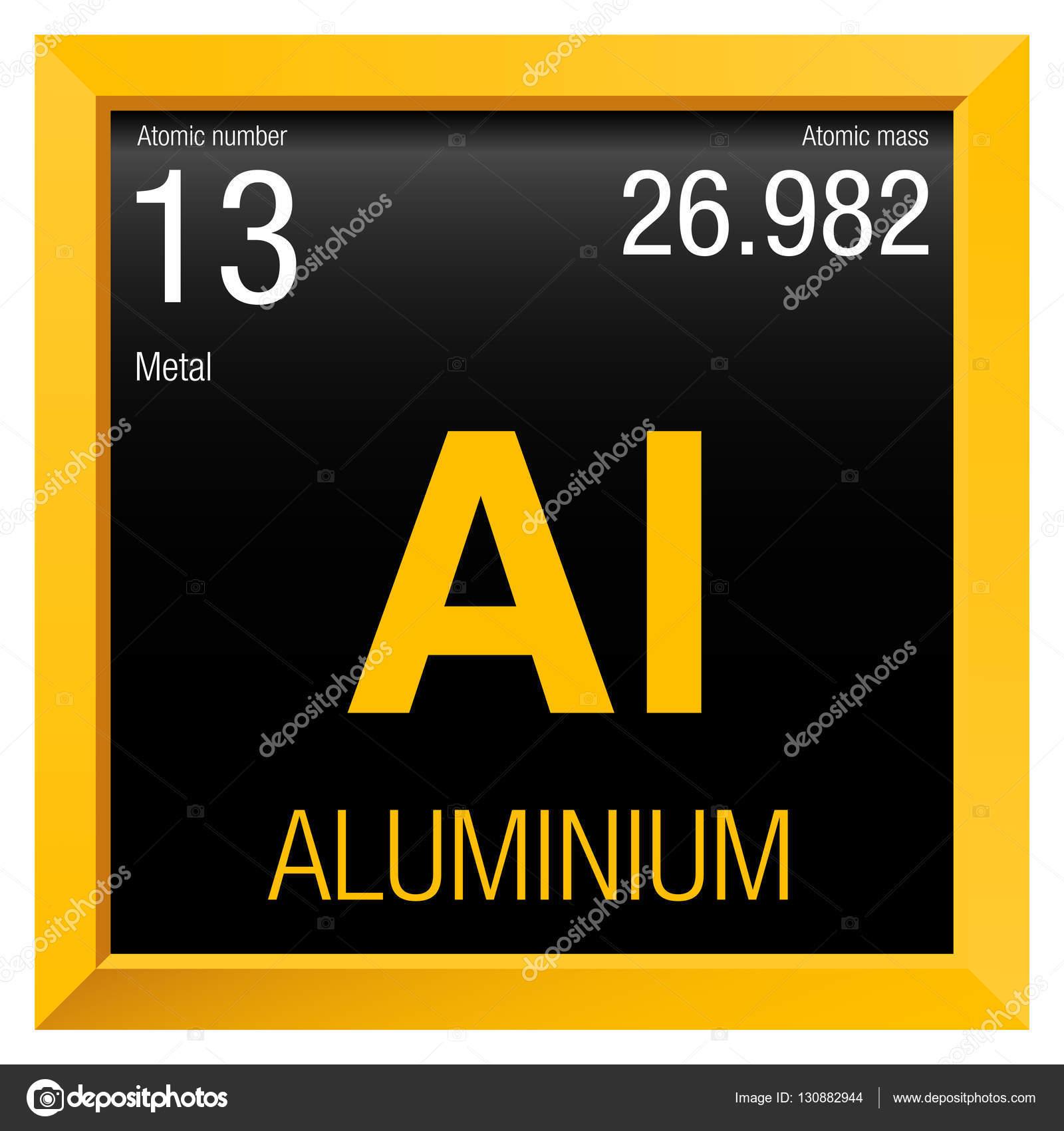 Símbolo del aluminio. Elemento número 13 de la tabla periódica de ...