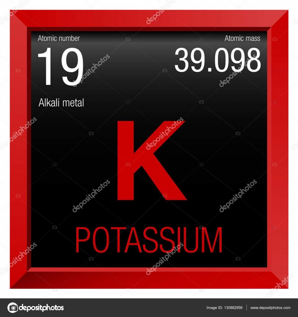 Symbol für Kalium. Elementnummer 19 des Periodensystems der Elemente ...