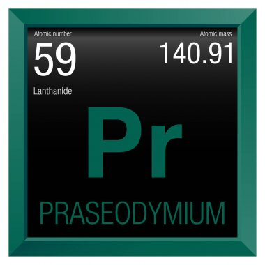 Praseodymium symbol. Element number 59 of the Periodic Table of the Elements - Chemistry - Green square frame with black background