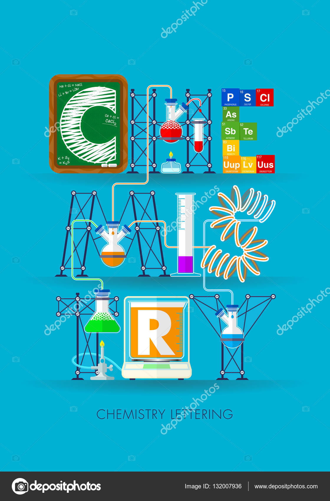 Chemistry lettering formed by an experiment with test tubes symbols chemistry lettering formed by an experiment with test tubes symbols of the elements of the periodic table a blackboard and a scale in blue background urtaz Image collections