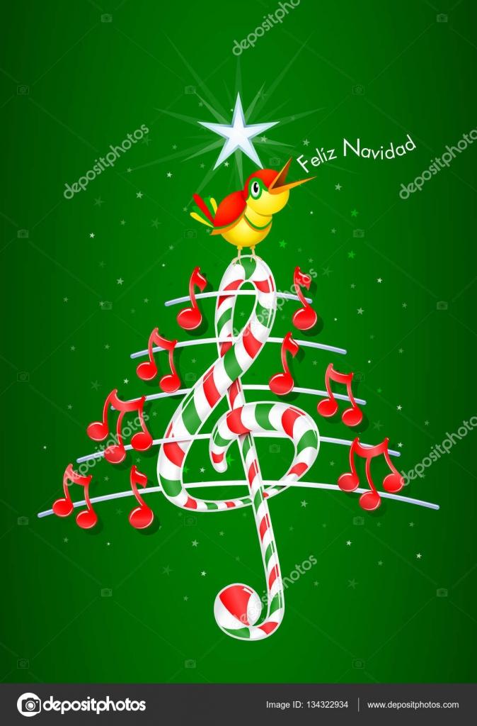 Árbol de Navidad hecho de notas musicales rojas, barra de caramelo ...