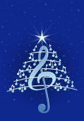 Christmas tree made of white musical notes, treble clef and pentagram on blue background with stars  - Vector image