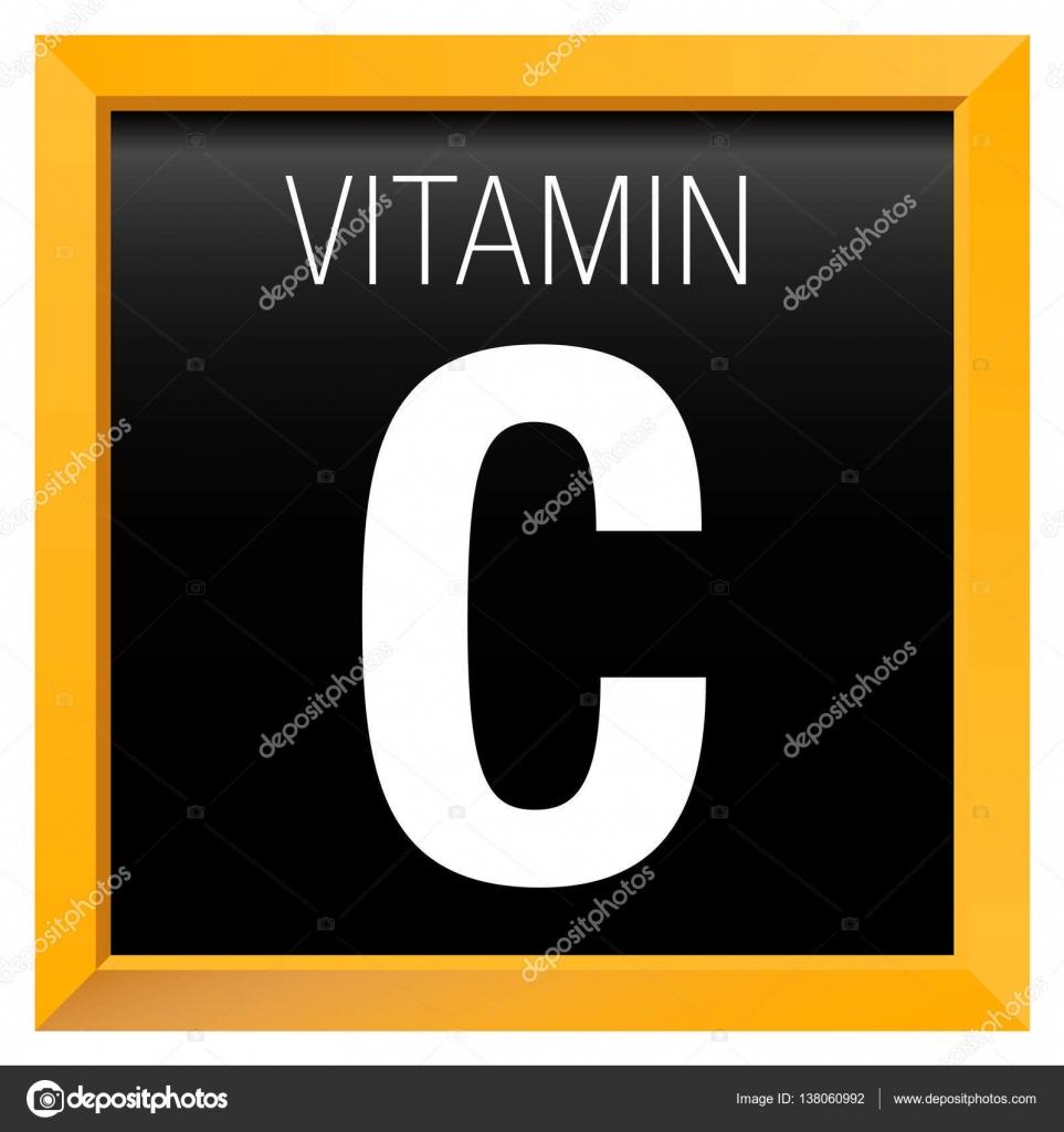 Vitamin C Symbol Chemie Orange Gelben Quadratischen Rahmen Mit
