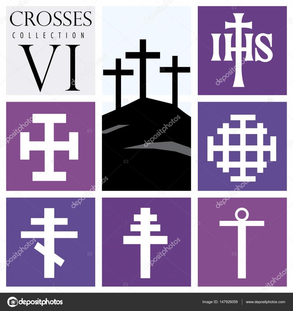 Purpuras Tipos Conjunto De Diferentes Tipos De Cruces Sobre Fondo