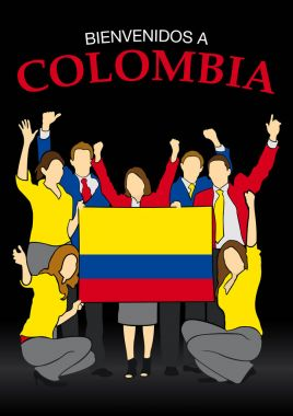 Bienvenidos a Colombia -Welcome to Colombia in Spanish language- Group of people dressed in the colors of the Colombia flag, waving with hands and holding the flag - Vector image