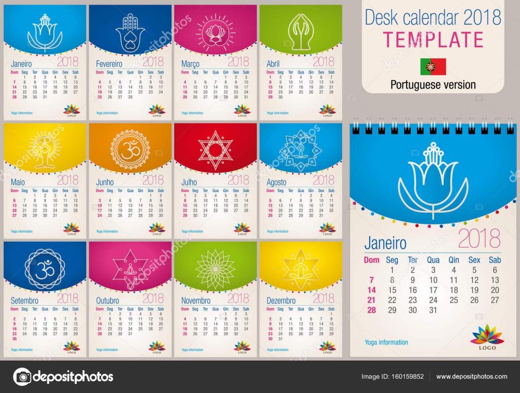 Useful desk calendar 2018 colorful template with yoga and reiki ...