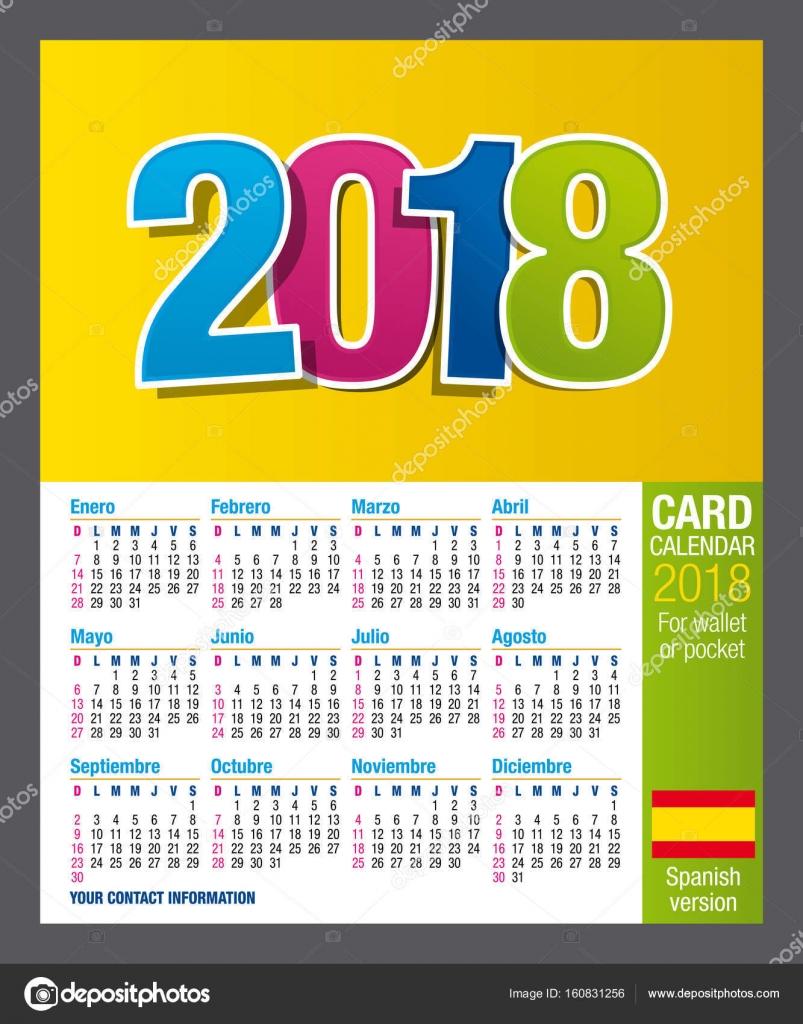 Tarjeta de doble cara útil calendario 2018 billetera o bolsillo, a ...