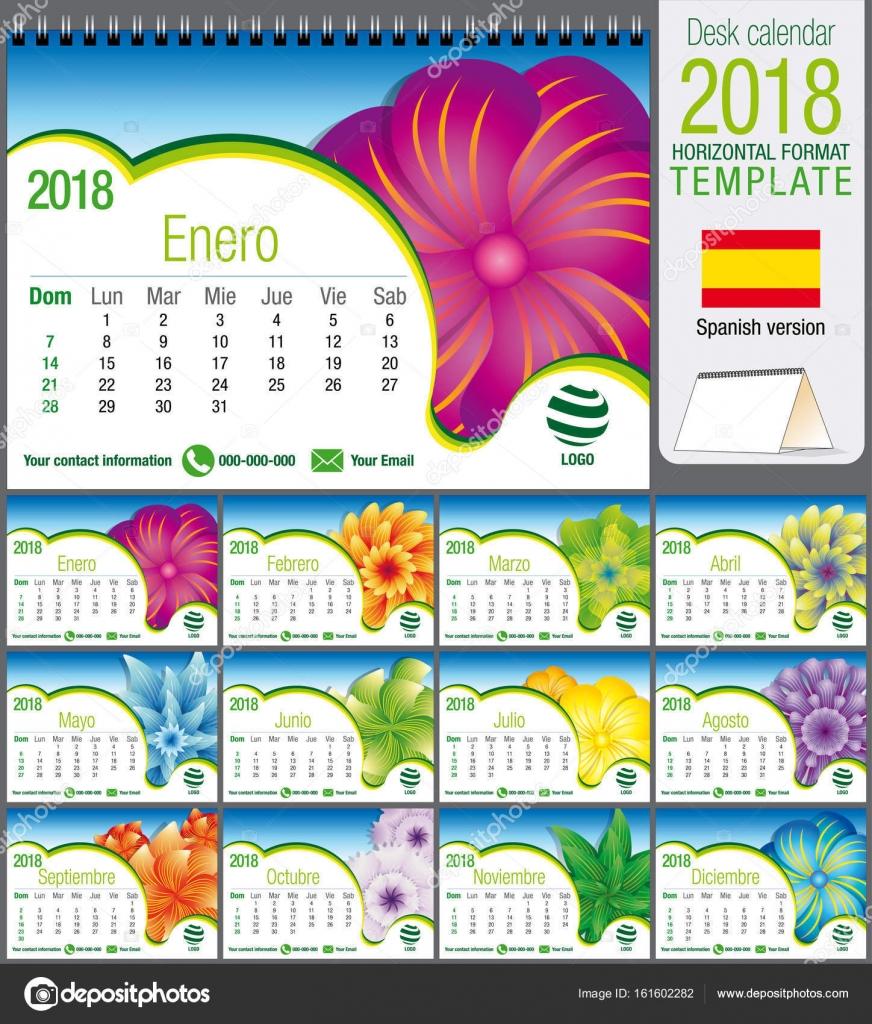 Plantilla de triángulo de escritorio calendario 2018 con diseño ...