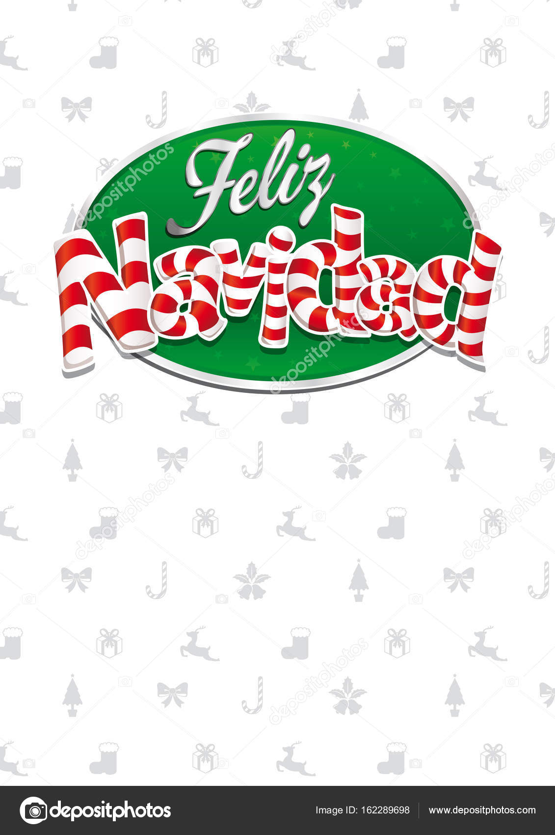 Feliz navidad merry christmas in spanish language white cover feliz navidad merry christmas in spanish language white cover of greeting card with bows reindeers gifts and trees in background layout size 21 cm x kristyandbryce Images