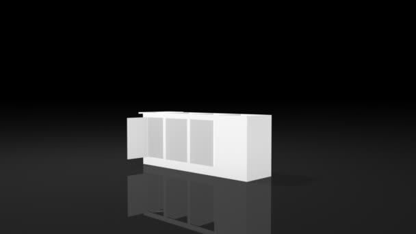 4d6daa42fa60da 3D анімація будівництва шматок за шматком білий виставки стенд квадратну  форму дизайн з відкритих дверей на чорному фоні– стокове відео