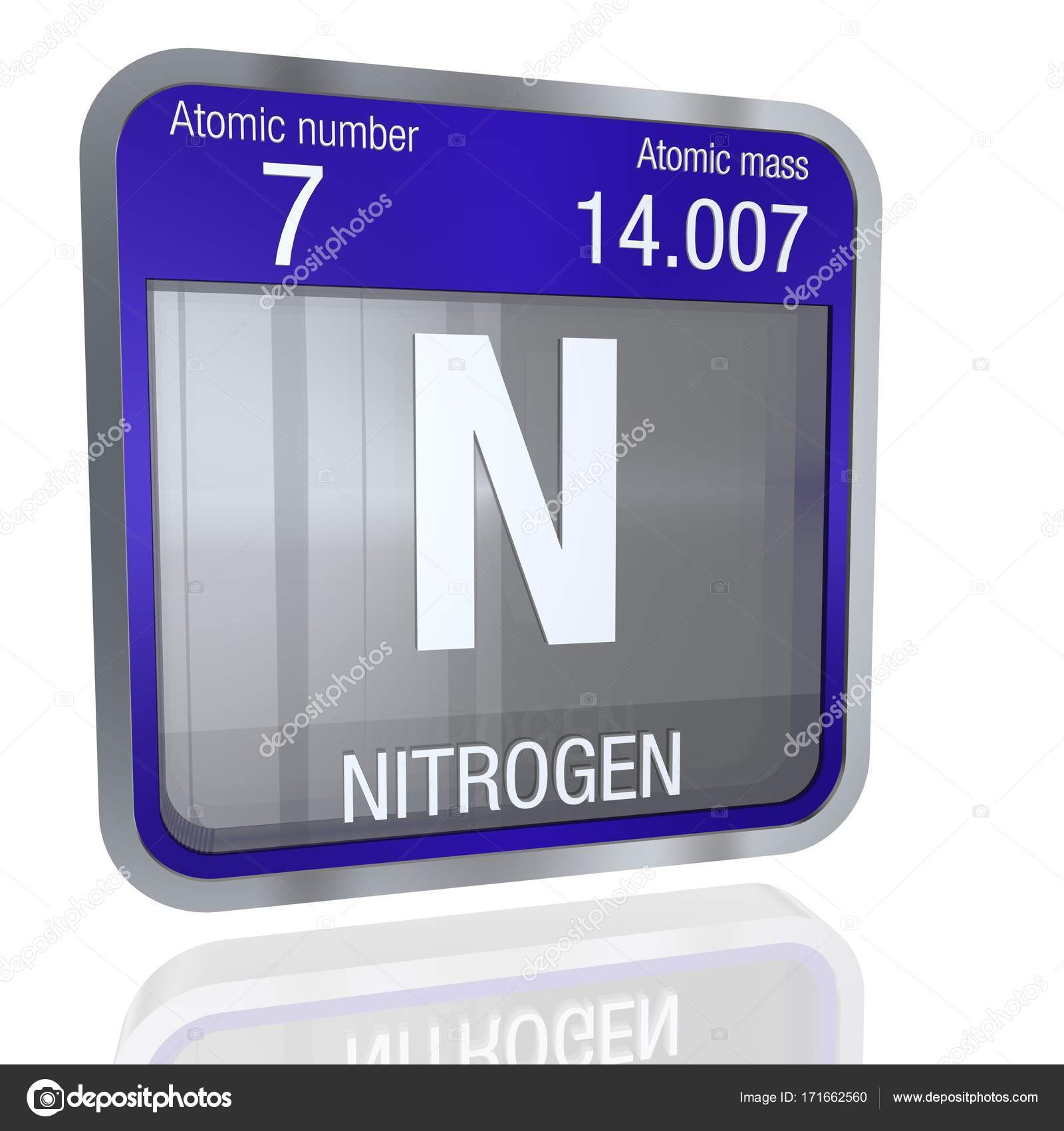 Nitrogen symbol in square shape with metallic border and transparent element number 7 of the periodic table of the elements chemistry photo by alejomiranda urtaz Image collections