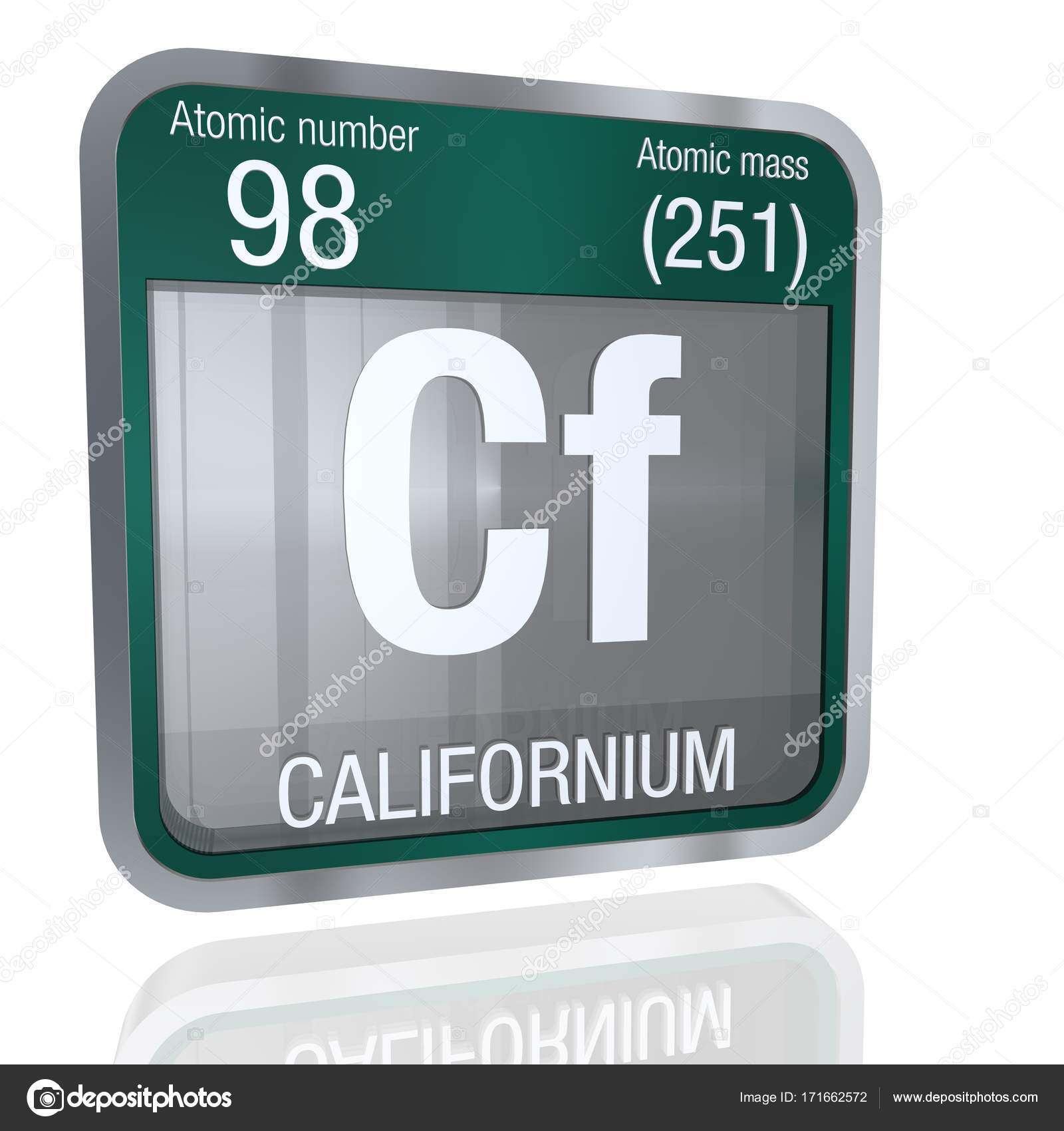 Californium symbol in square shape with metallic border and element number 98 of the periodic table of the elements chemistry photo by alejomiranda gamestrikefo Images