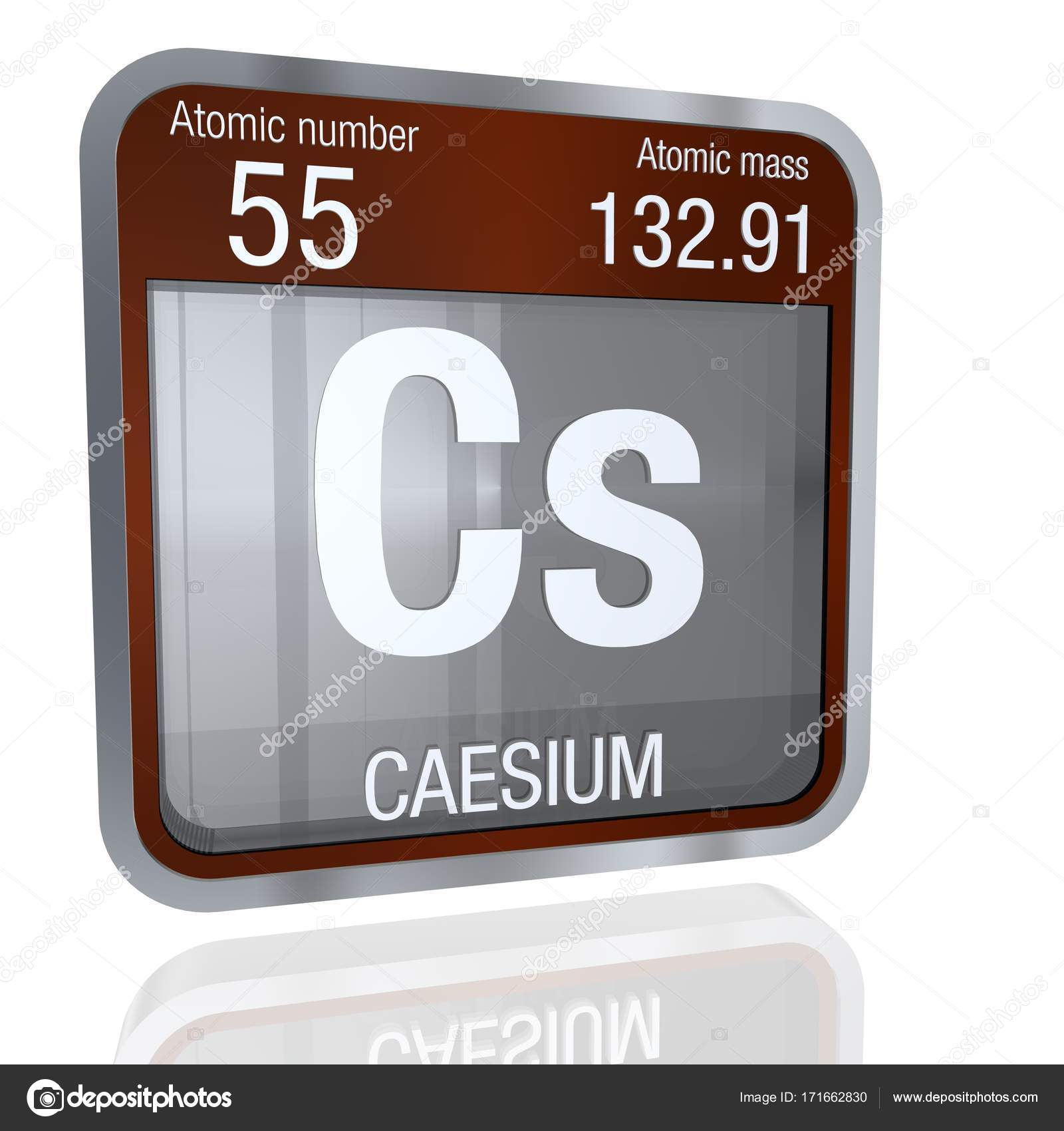 Caesium symbol in square shape with metallic border and transparent element number 55 of the periodic table of the elements chemistry photo by alejomiranda urtaz Gallery