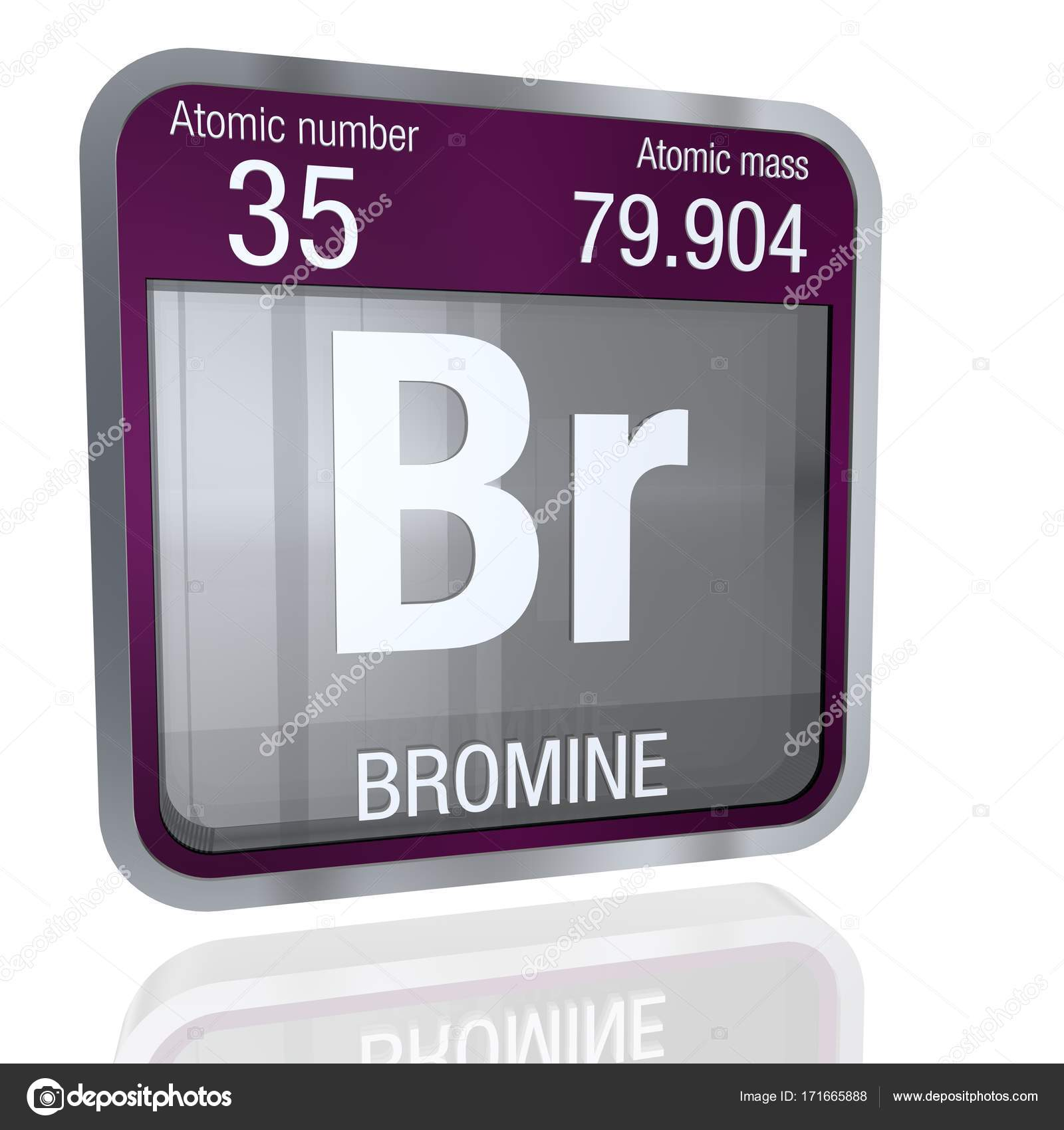 Bromine symbol in square shape with metallic border and bromine symbol in square shape with metallic border and transparent background with reflection on the floor 3d render element number 35 of the periodic biocorpaavc