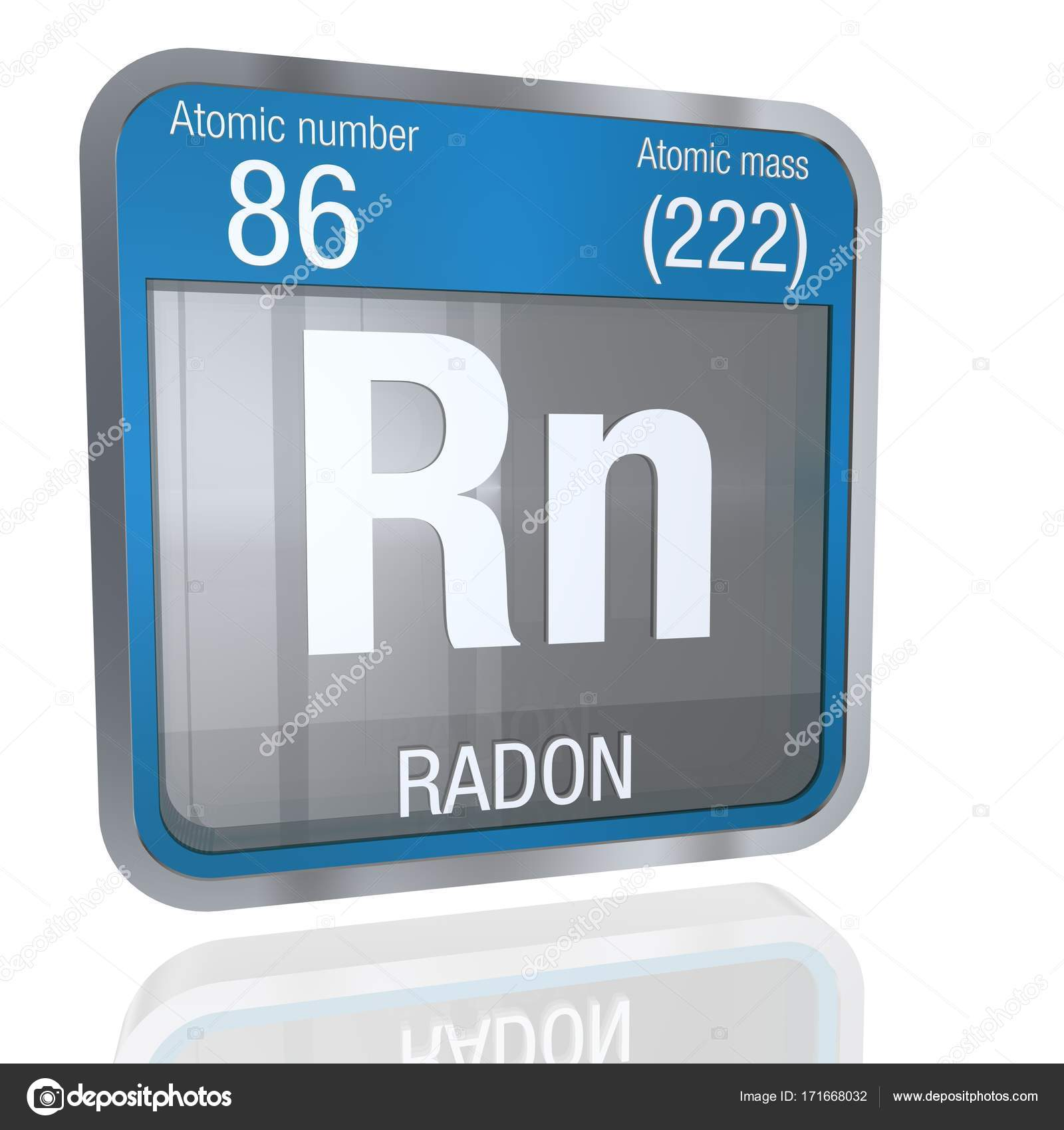 Radon Symbol In Square Shape With Metallic Border And Transparent