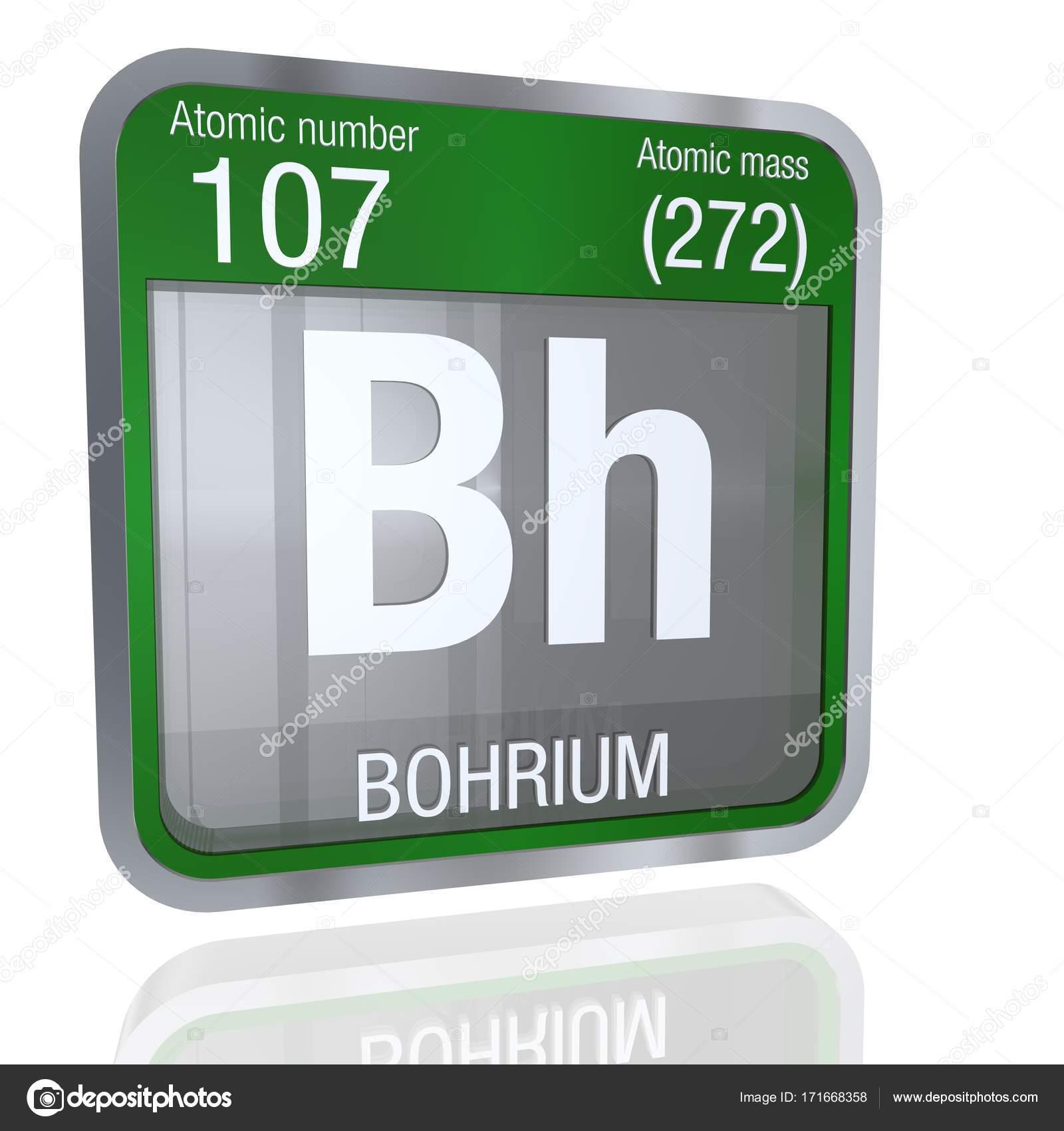 Smbolo del bohrio en forma cuadrada con borde metlico y fondo nmero 107 del elemento de la tabla peridica de los elementos qumica foto de alejomiranda urtaz Choice Image
