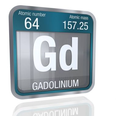 Gadolinium symbol  in square shape with metallic border and transparent background with reflection on the floor. 3D render. Element number 64 of the Periodic Table of the Elements - Chemistry