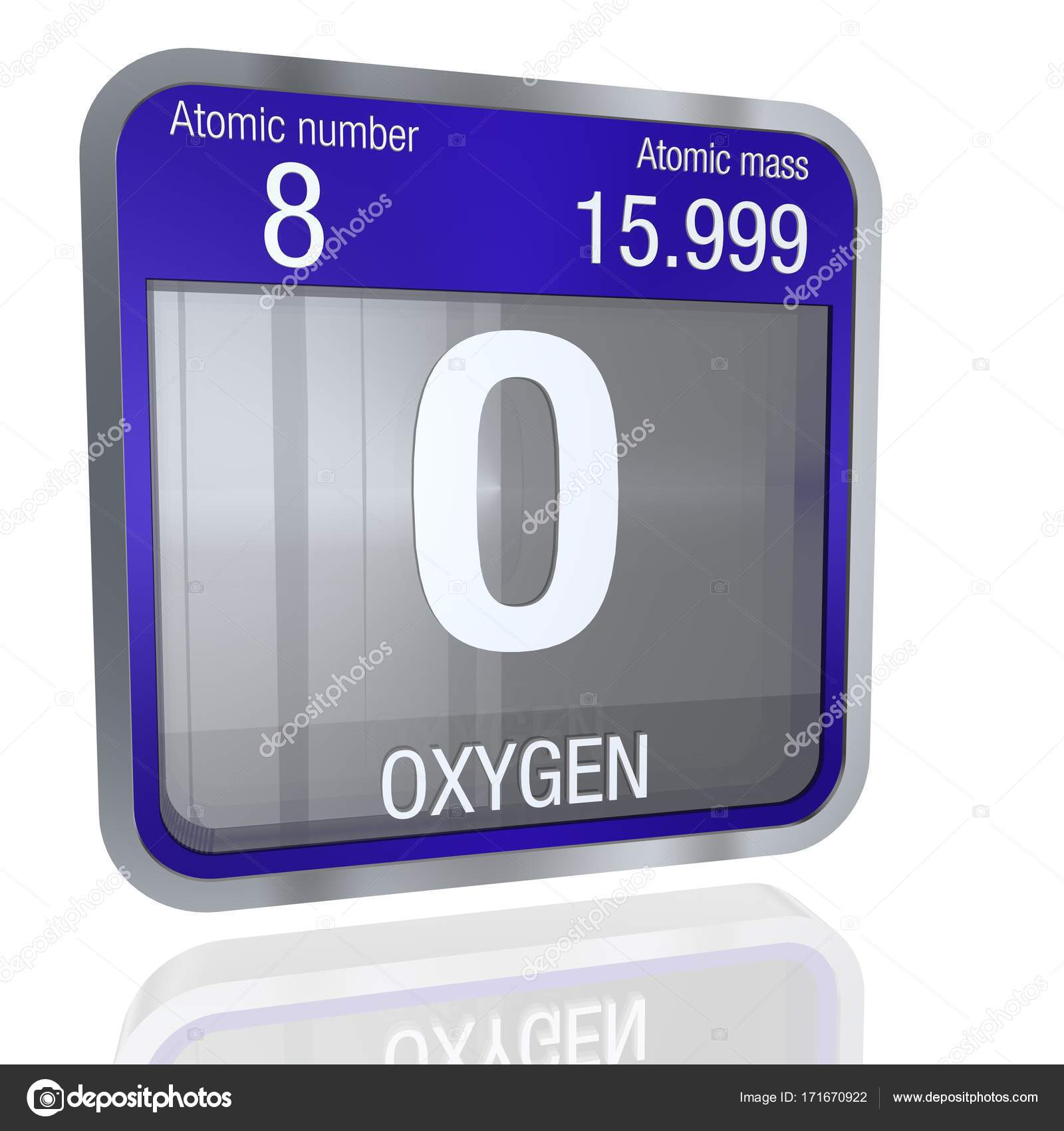 Oxygen symbol in square shape with metallic border and transparent oxygen symbol in square shape with metallic border and transparent background with reflection on the floor 3d render element number 8 of the periodic urtaz Images