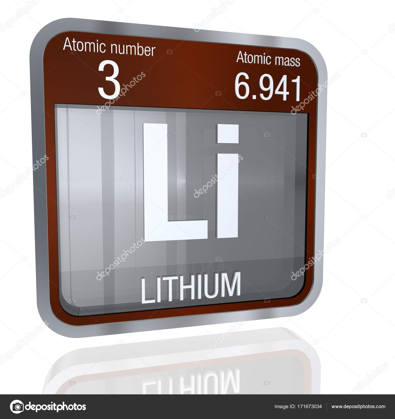 Lithium symbol in square shape with metallic border and transparent lithium symbol in square shape with metallic border and transparent background with reflection on the floor 3d render element number 3 of the periodic urtaz Choice Image