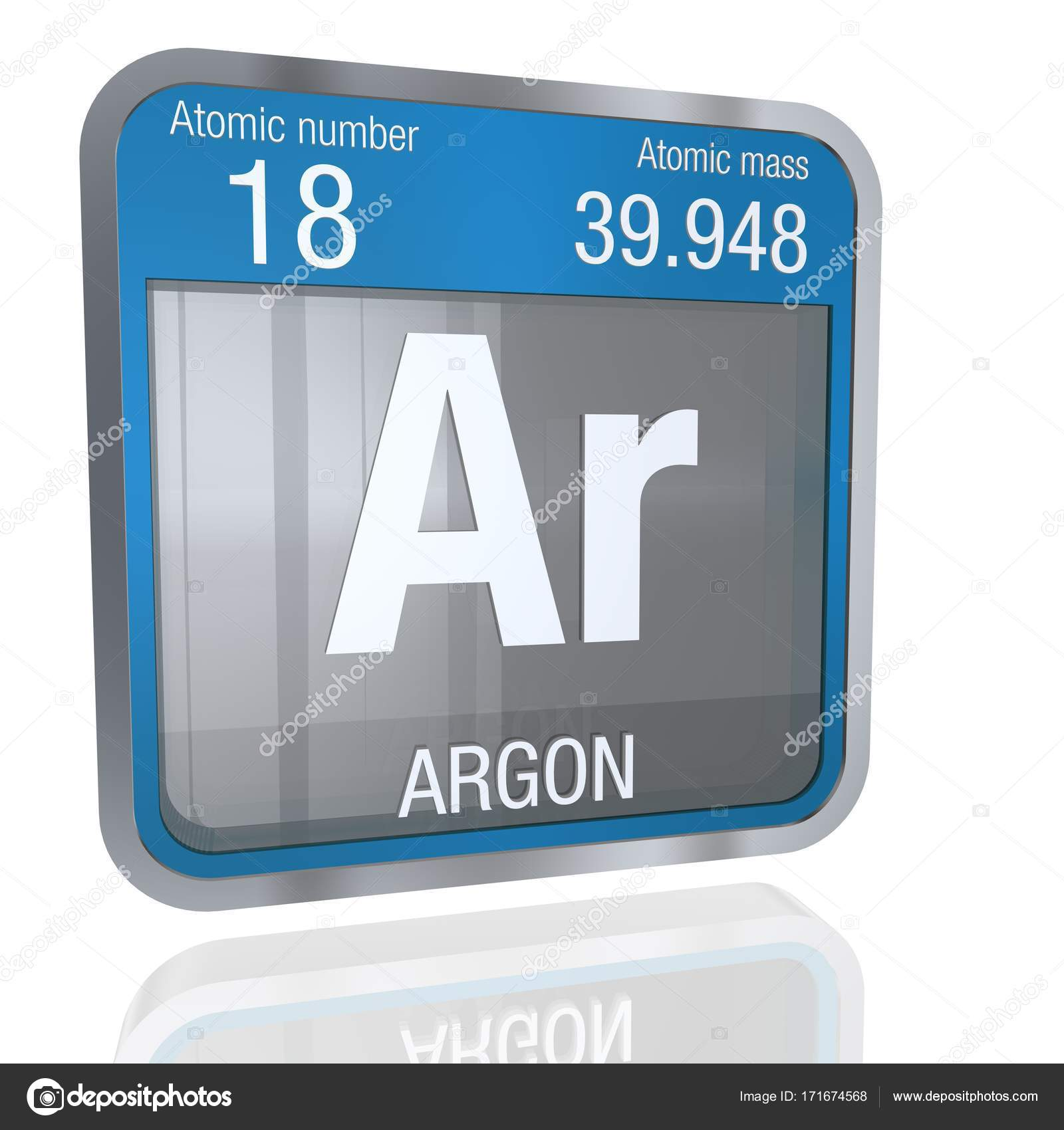 Argon Symbol In Square Shape With Metallic Border And Transpa Background Reflection On The Floor Render Element Number 18 Of Periodic