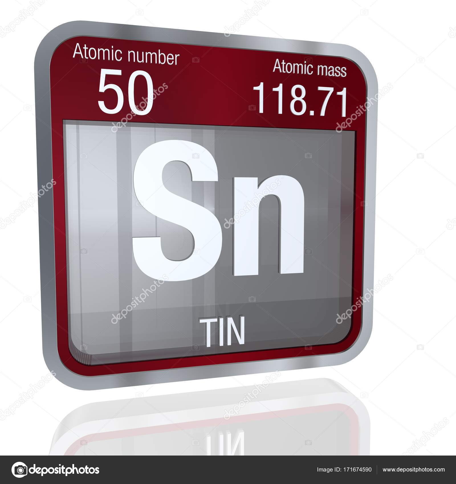 Tin symbol in square shape with metallic border and transparent tin symbol in square shape with metallic border and transparent background with reflection on the floor 3d render element number 50 of the periodic table urtaz Choice Image