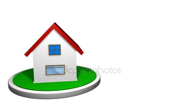 3D Animation Eines Kleinen Hauses Mit Einem Roten Dach Auf Eine Weiße  Scheibe Mit Einem Postfach Vor. Das Haus Dreht Sich Um 360 Grad. Loop  Animation.