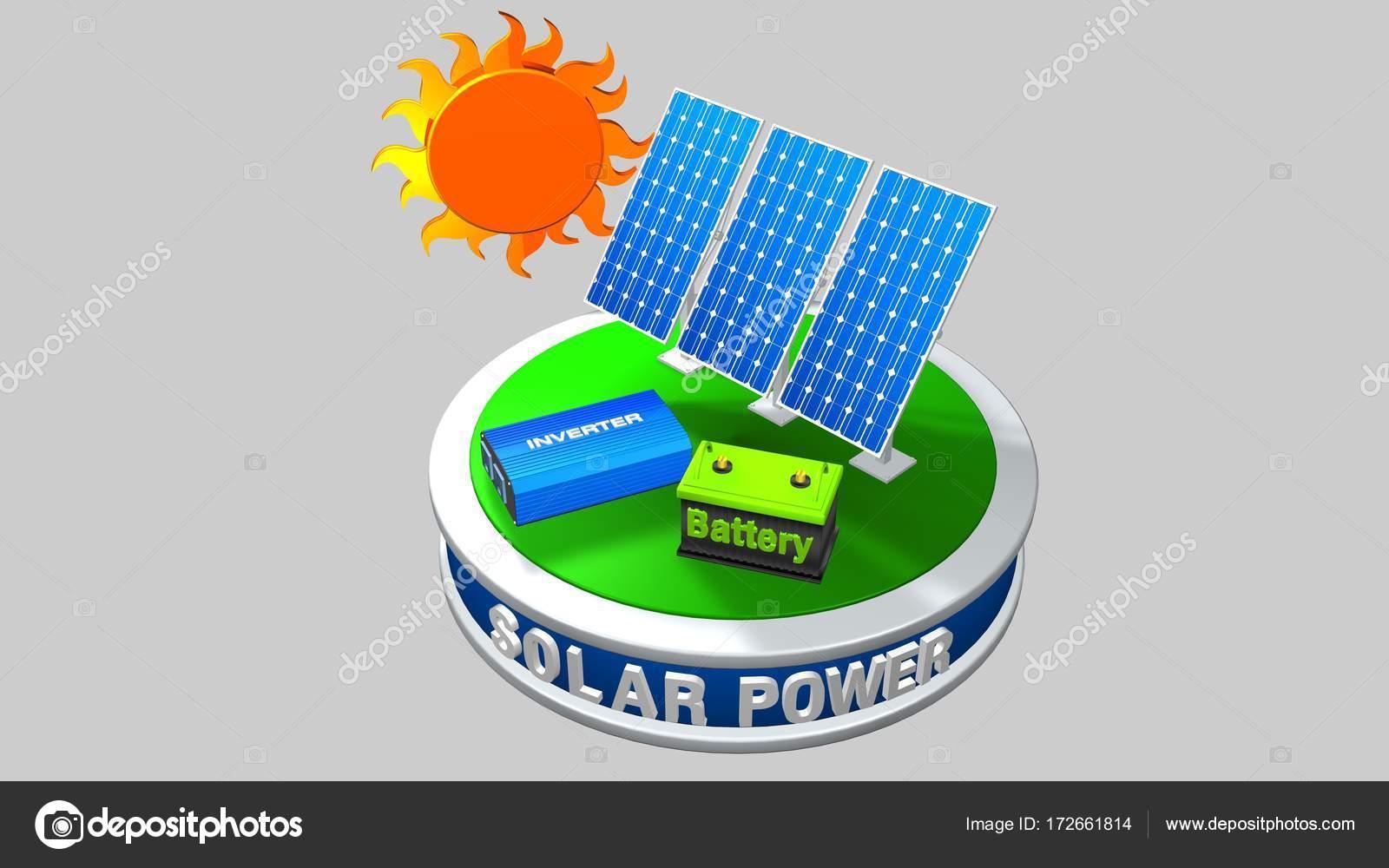 modelo 3D de un equipo de energía solar que consta de 3 paneles ...