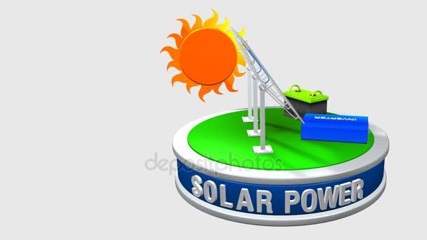 3D animace solárního zařízení skládající se z 3 solární panely, střídače a baterie otáčení o 360 stupňů se sluncem za - obnovitelné zdroje energie - smyčce - alfa kanál obsažený
