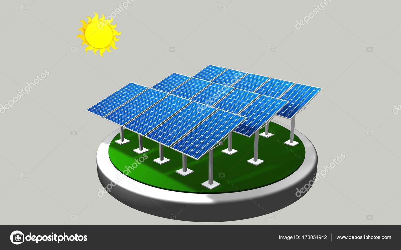 Modello 3d di un gruppo di pannelli solari seguendo il for Immagini pannello solare