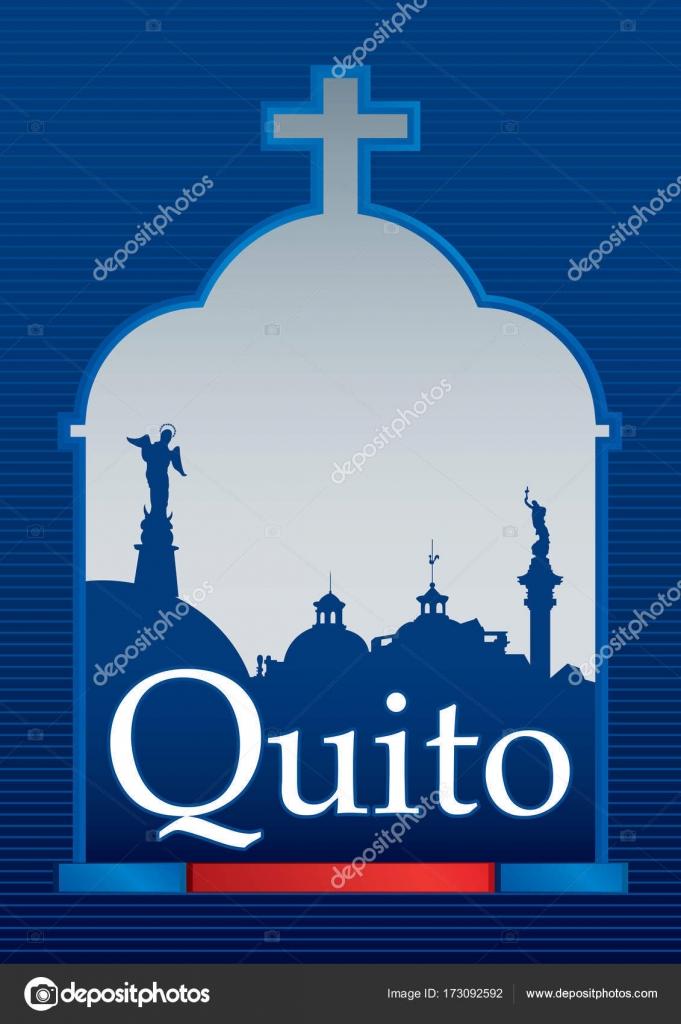 Diseño de la ciudad de Quito con la bandera azul y roja con silueta ...