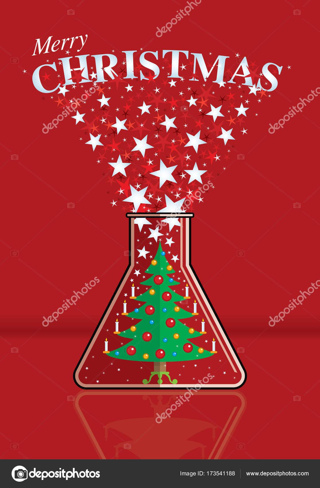 Weihnachtsbaum geschmückt mit brennenden Kerzen in einer Flasche ...