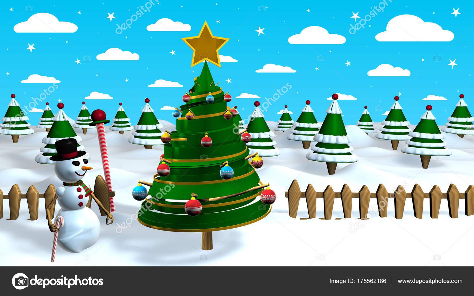 Christmas Scene Snow Man Next Abstract Christmas Tree Decorated ...