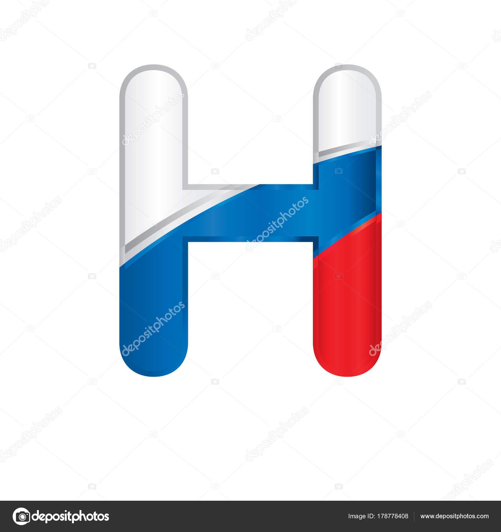 Buchstabe Bemalt Mit Den Farben Der Russischen Flagge Weiß