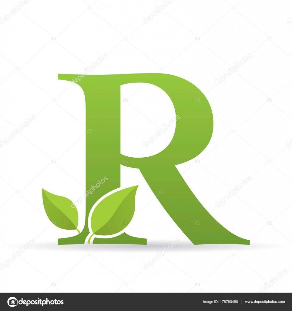 Logotipo Con Letra Color Verde Decorado Con Hojas Color Verde ...